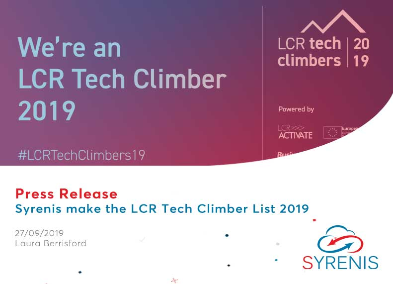Syrenis make the LCR Tech Climbers List 2019