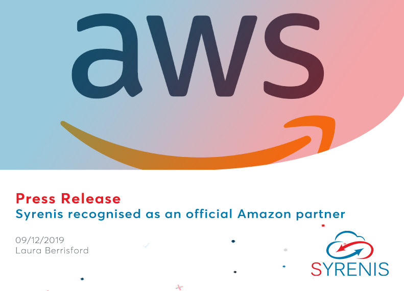 UK software company Syrenis pleased to be recognised as an official Amazon Web Services (AWS) Partner to become part of a select network providing leading SaaS solutions to AWS enterprises.