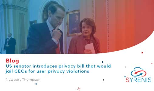 Us Senator Introduces Privacy Bill that would Jail CEO's for User Privacy Violations